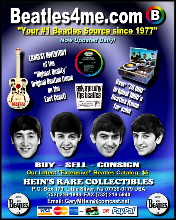 Beatles Memorabilia available on our website.  Click here to view!